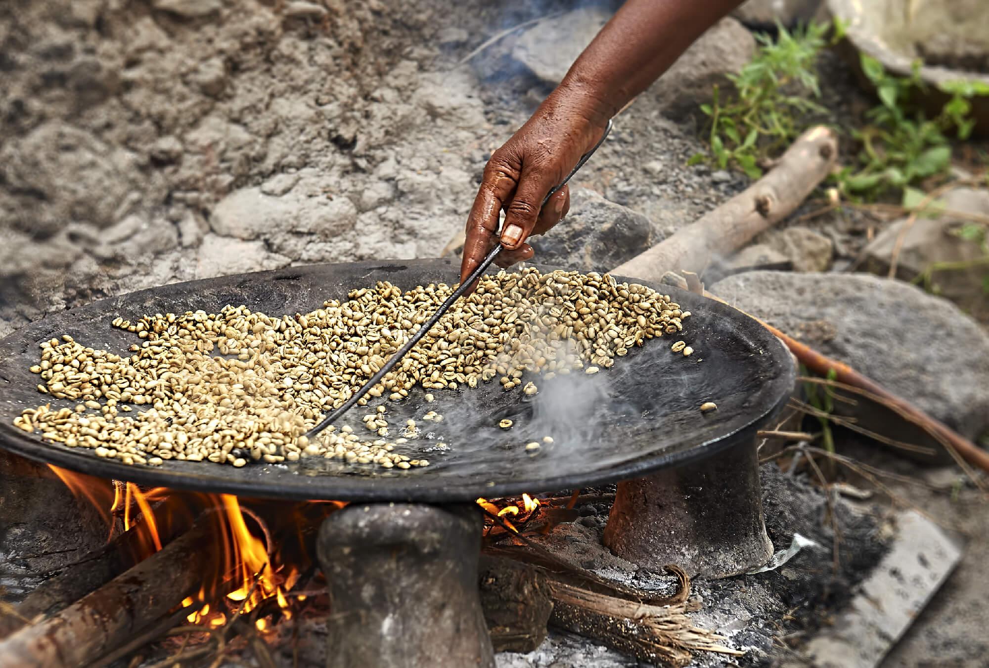 Roasting Ethitopian coffee beans